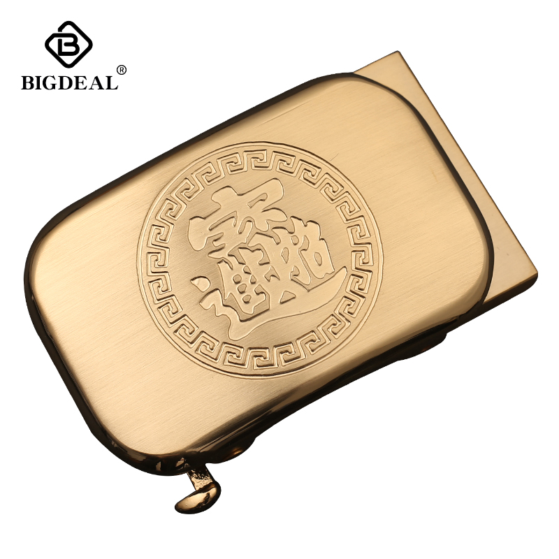BIGDEAL Men's Solid Brass Copper Buckle Suit For Automatic Belts Waistband Accessories 3.5CM