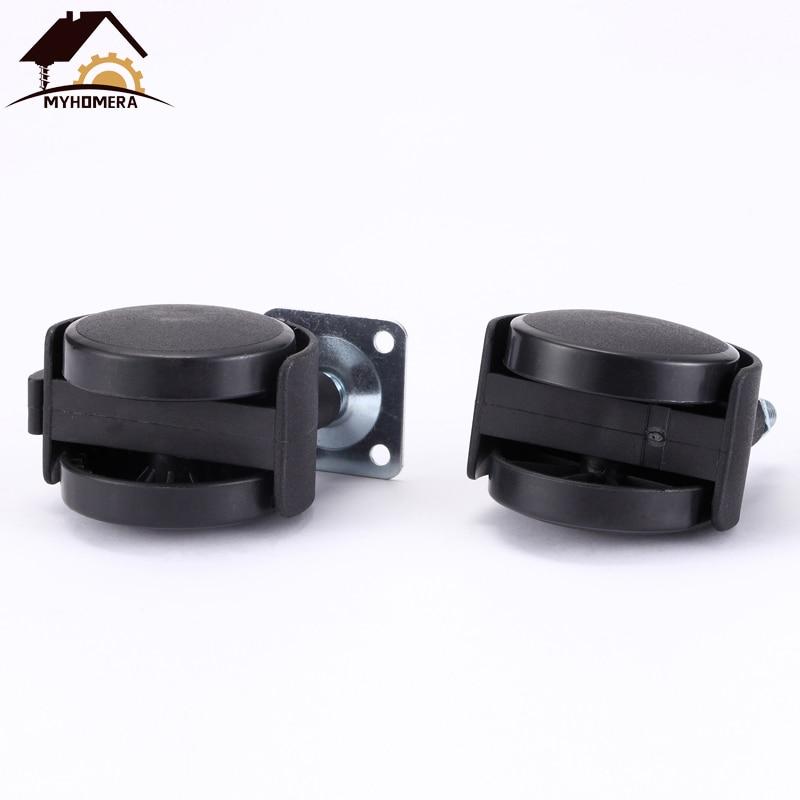 Rodízio da mobília da roda da cadeira de myhomera 48mm m8 parafuso/rodízio do giro da placa 2 polegadas rodas ferragem freio silencioso proteger-5