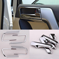 1 set ABS chroming car interior door handle cover for Toyota Land Cruiser Prado 2014 to 2016 auto door trim strip for Decoration