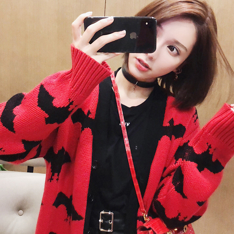 V neck bat pattern medium long knitted cardigans for women thick sweater S M L 2018