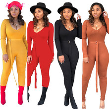 Adogirl Solid Ribbed Knitting Skinny Jumpsuit with Belt Women Sexy Deep V Neck Long Sleeve Casual Romper Club Overall Tracksuit