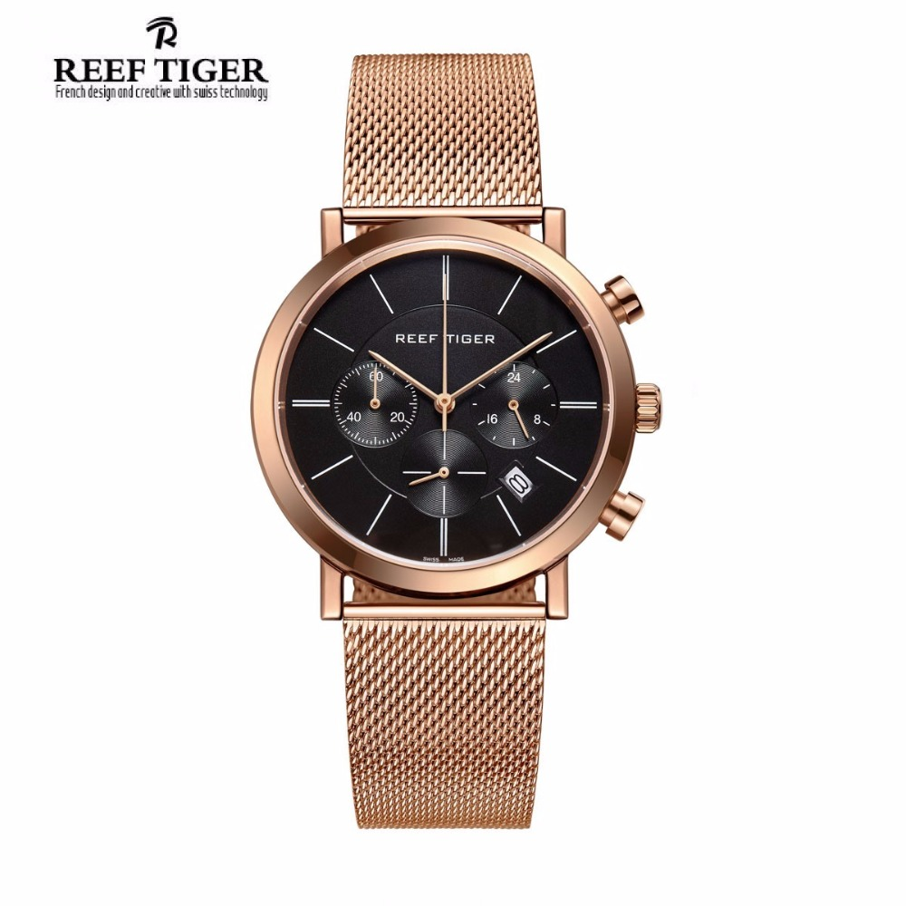 Reef Tiger/RT Luxury Chronograph Watch for Men Ultra Thin Full Rose Gold Tone Wrist Watches with Date RGA162 2x yongnuo yn600ex rt yn e3 rt master flash speedlite for canon rt radio trigger system st e3 rt 600ex rt 5d3 7d 6d 70d 60d 5d
