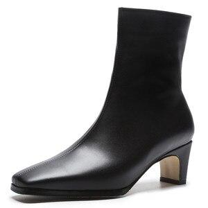 Image 2 - FEDONAS en kaliteli kadın temel çizmeler yan fermuar sıcak yüksek topuklu sonbahar kış bayanlar ayakkabı kadın seksi kare ayak ofis pompaları