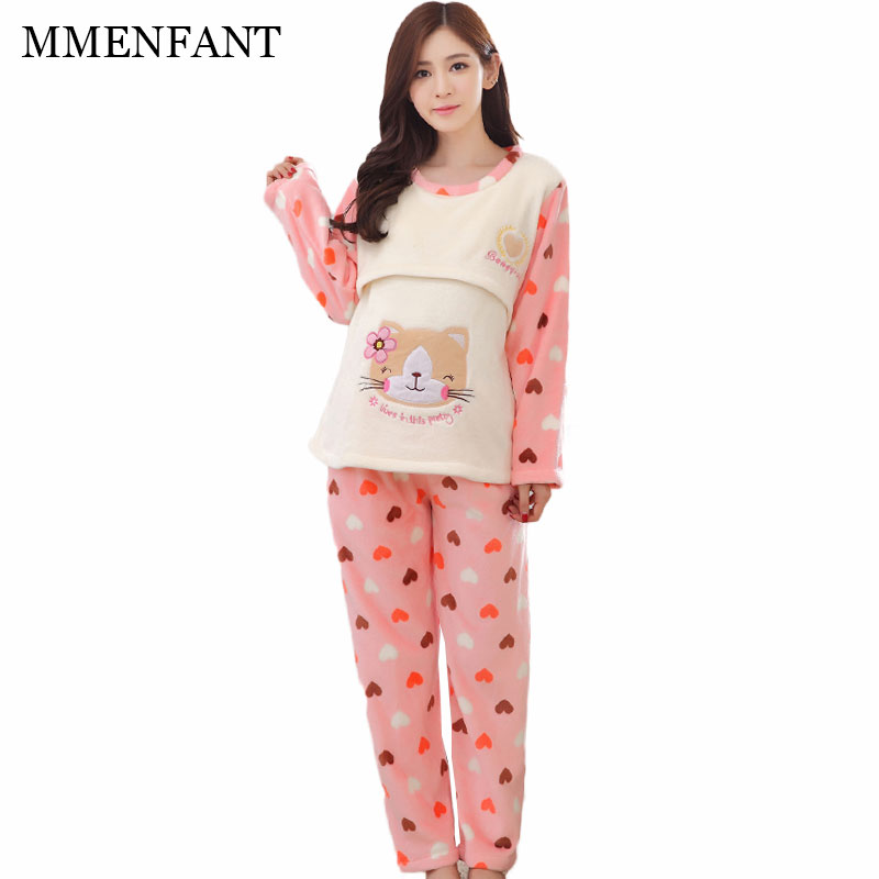 Pregnant women pajamas postpartum breast feeding clothes pajama suits autumn and winter thicker cute cat maternity clothes sets