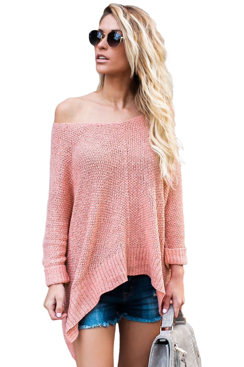 Pink-Oversized-Knit-High-low-Slit-Side-Sweater-LC27680-10-2