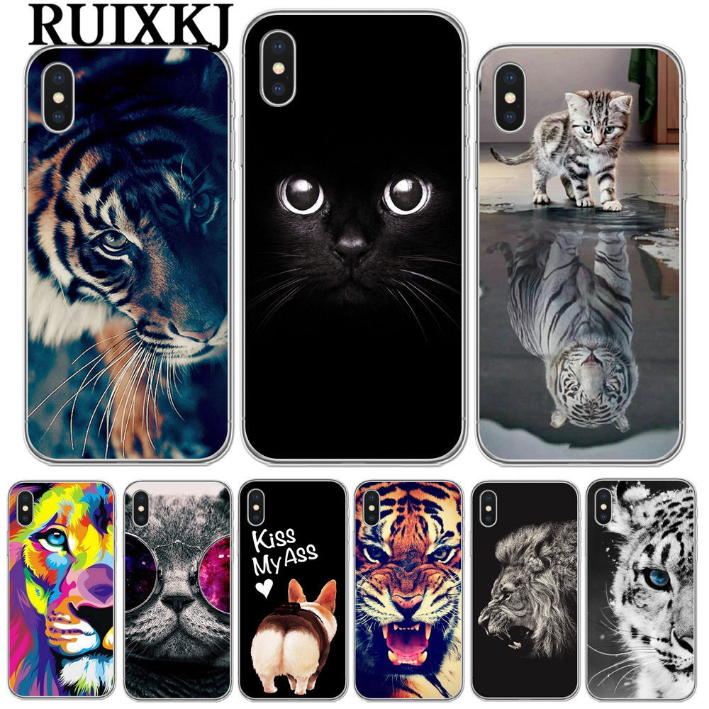 RUIXKJ For <font><b>iPhone</b></font> X 8 8Plus 7 6 6S Plus 5S SE Cool Tiger Owl <font><b>Cat</b></font> Dog Cartoon Painted Silicone Phone <font><b>Case</b></font> For <font><b>iphone</b></font> 7 Cover image