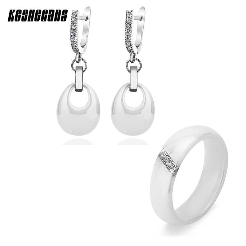 Thời trang Wedding Party Trang Sức Set Water Drop Earrings & Crystal Vòng Thép Đen Trắng Ceramic Phụ Kiện Bijoux Cho Phụ Nữ Cô Gái