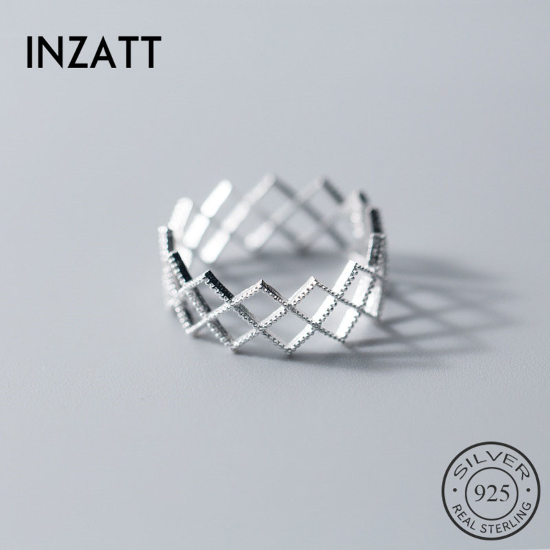 INZATT Real 925 Sterling Silver Minimalist Geometric Hollow Ring For Charming Women Party Fine Jewelry Trendy Accessories Gift