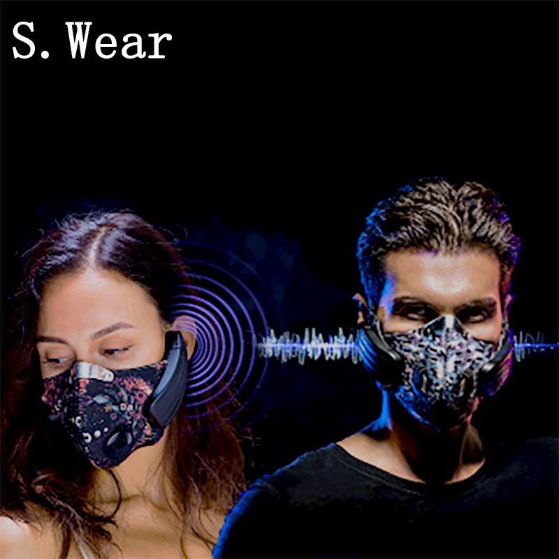 Wireless Rechargeable Smart BT4.0 Headphone Mask Haze Dust Resistant Music Bone Conduction Headphone Anti pollution Sports Mask