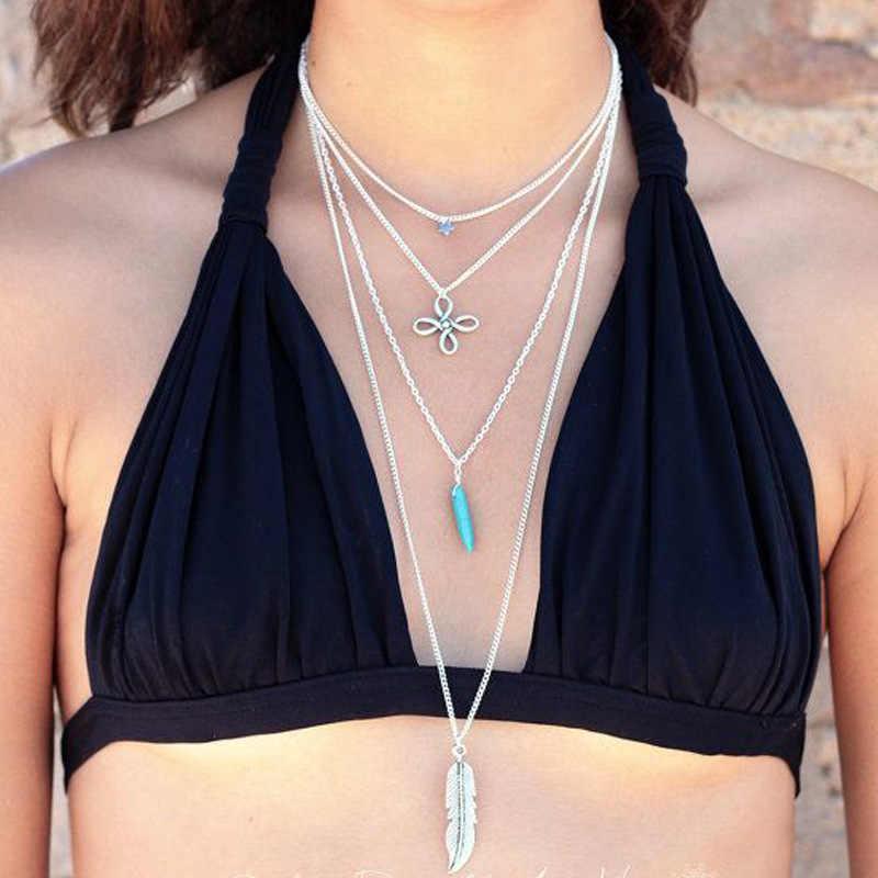 Seblasy ヴィンテージボヘミアン多層天然石ビーズ平和鳩クリスタル模擬パールネックレス & ペンダント女性のギフトのため