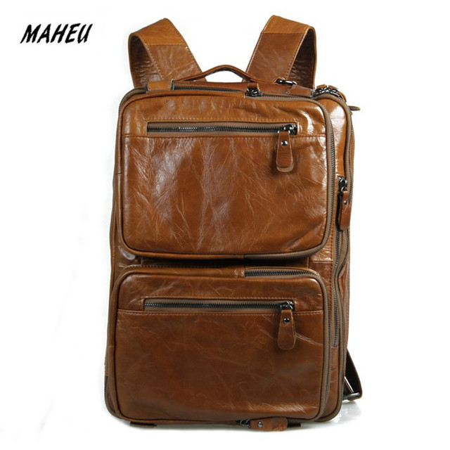 Men S Genuine Leather Laptop Backpack 14 Genuine Leather Business