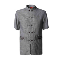 Summer New Chinese Men's Mandarin Collar Shirt Cotton Linen Kung Fu Shirts Tai Chi Wu Shu Clothing Size M L XL XXL XXXL NS054