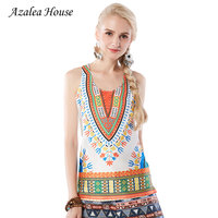 Azalea House 2017 National New Fashion Women S Clothing Printed Crop Tank Tops Casual Printing Suspenders