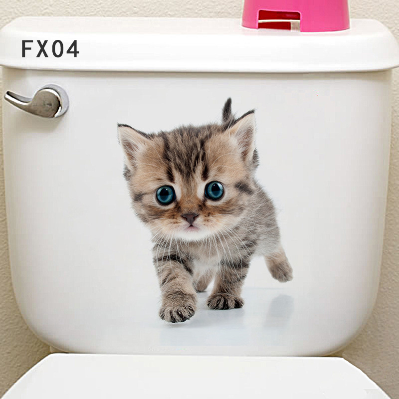 3D Animal Toilet Seat Sticker Fridge Closet Decal DIY Vinyl Art Sticker #3
