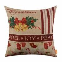 LINKWELL 45x45 cm Merry Christmas Present Złoty Dzwon Dark Red Bird Sezonowe Decor Party Stocking Jutowe poduszki Poszewka Poduszki pokrywa