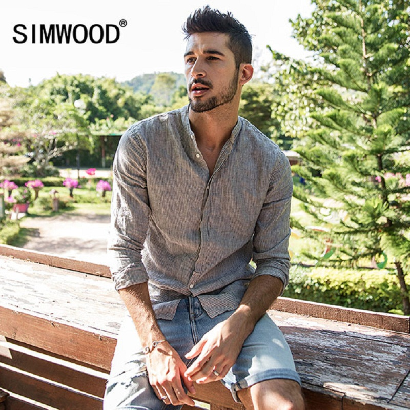 SIMWOOD Casual Shirts Men 100% Pure Linen 2018 Spring Summer Long Sleeve Shirt Male Slim Fit Plus Size High Quality CC017035