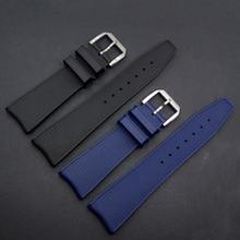 22mm (hebilla 18mm) Accesorios de Lujo De La Moda Para Hombres de la Marca de Relojes de Banda Correas de Pulsera Negro Azul Hebilla De Acero inoxidable