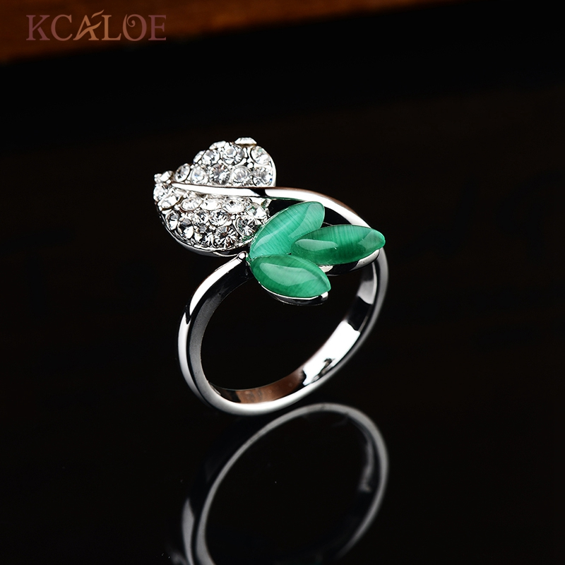 kcaloe green lantern ring fashion crystal rhinestone leaf wedding engagement jewelry silver color green natural opal rings in rings from jewelry - Green Lantern Wedding Ring