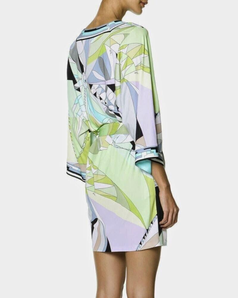 Luxus Marke Runway Kleid damen V ausschnitt Colorful Geometric Print Farbblock Jersey Silk Casual Kleid Mit Schärpen-in Kleider aus Damenbekleidung bei  Gruppe 3