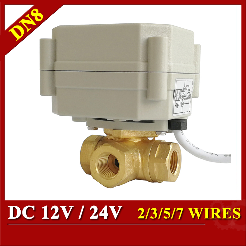 Tsai Fan Electric Actuated Valve 12VDC 24VDC 3 Way DN8 1/4'' Horizontal Valve L/T Port For Water Heating And Cooling tsai fan 12v 24v motorized valve 3 way horizontal t l port dn8 1 4 electric valve for water application metal gear ip67
