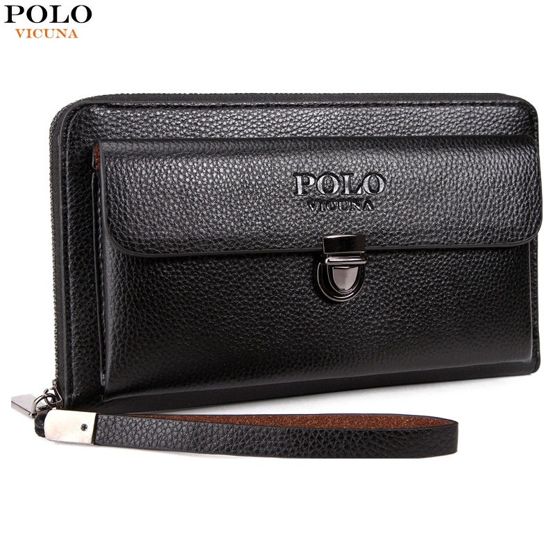 VICUNA POLO Large Capacity Long Style Mens Wallet With Antitheft Buckle Casual Business Clutch Bag Men's Leather Card Holder Bag