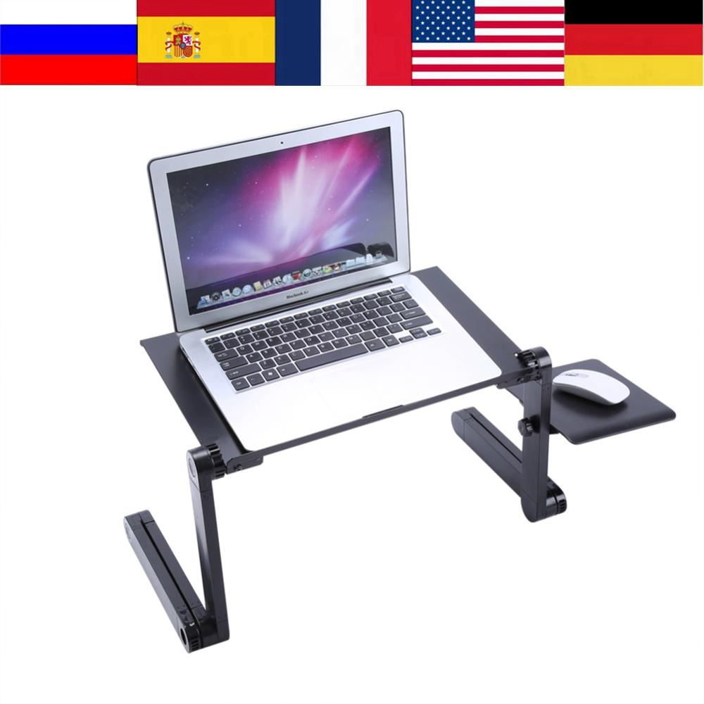 Multi-functional Adjustable Portable Aluminum Laptop Table Stand For Bed Sofa Laptop Table Folding Notebook Desk With Mouse Pad(China)