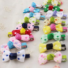 20 Pcs Lot Small Mini Bow Hairgrips Sweet Baby Girls Solid Dot Stripe Printing Whole Wrapped