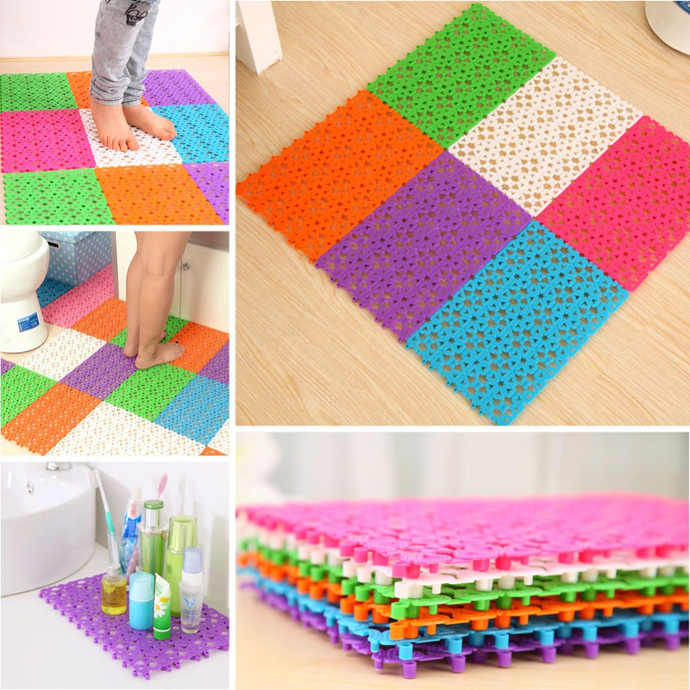 Hot Plastic Multicolor Bath Mats Heart Shape Bathroom Shower Mats Room font b Kitchen b font
