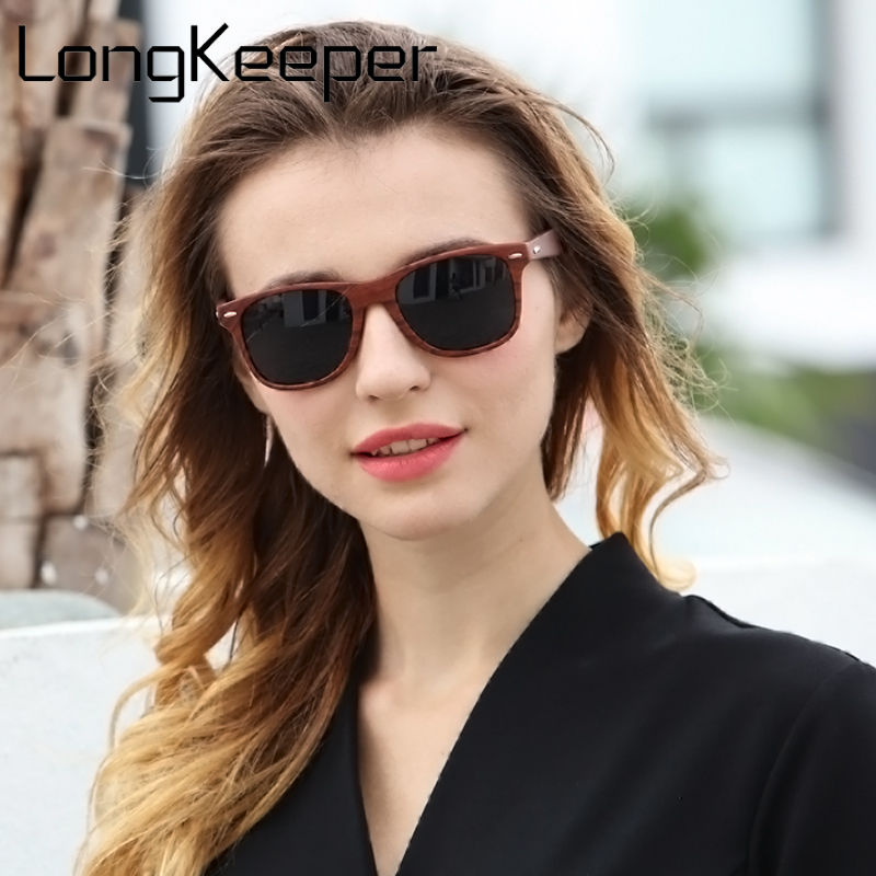 LongKeeper 2018 Summer Fashion Goggles Men Sunglasses gafas de sol Wood Color Sun glasse ...