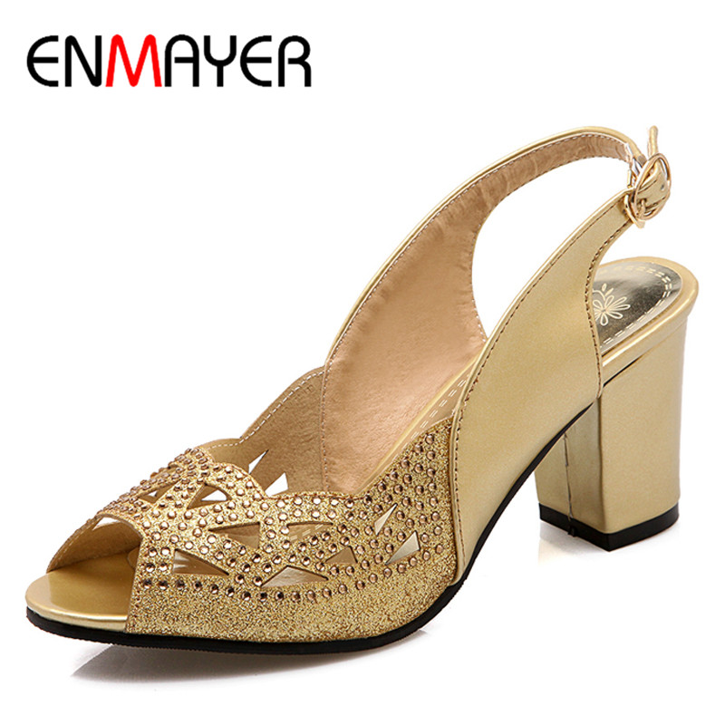 ENMAYER Summer Women Sandals High Heel Pumps 4Colors Peep toe Rhinestone Cuts out Pumps Buckle Strap Big Size Square Heel Pumps hxt 2028 stylish in ear nylon cable earphones w microphone for samsung iphone xiaomi