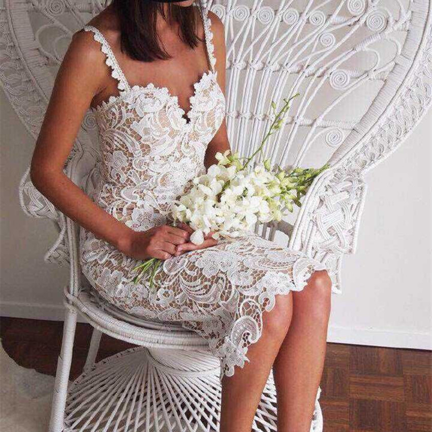 2018 Fashion Designer <font><b>White</b></font>/ Black Party <font><b>dress</b></font> Women <font><b>Sexy</b></font> Sleeveless Lace Crochet Hollow Out Slim Spaghetti Strap Bodycon <font><b>Dress</b></font> image
