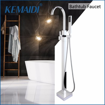 KEMAIDI łazienka prysznic z rączka prysznica pojedynczy uchwyt stojak podłogowy kran do wanny bateria natryskowa zestaw kranów tanie i dobre opinie Chromowany Stojak podłogowy baterie Pojedynczy uchwyt podwójna kontrola Współczesna 50046 ceramic Shower Sets Sitting