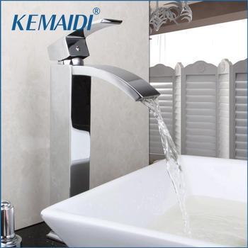 KEMAIDI  Bathroom Basin Sink Faucet Chrome Brass Single Handle Basin Vessel Single Hole Sink Mixer Tap Counter Basin Faucet