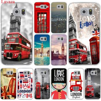 London big ben Bus Hard Transparent for Samsung Galaxy S6 S7 S8 Edge Plus S5 S4 S3 & Mini Case Cover telephony