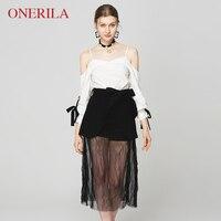 ONERILA 3 предмета набор холодной сексуальный плечо белый черный Сетчатое платье с поясом Элегантный Спагетти ремень v образным вырезом Вечерн