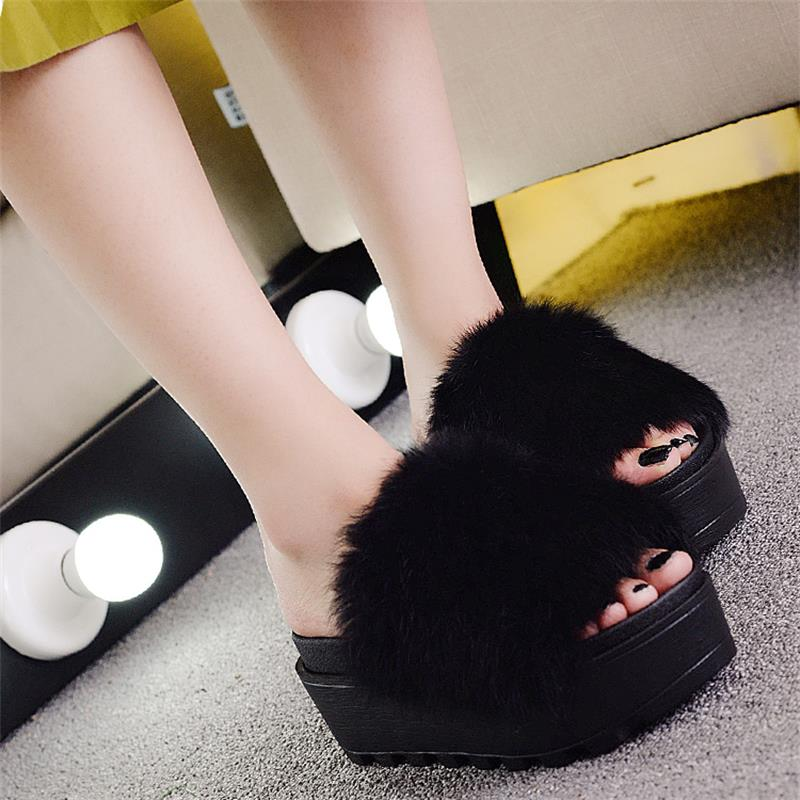 bacf53c1102 Women Fur Sandals Fashion Leather Platform Sandals Casual Fur Slides Shoes  Slip On Sandalia Feminina Zapatos Mujer Plataforma-in Women s Sandals from  Shoes ...