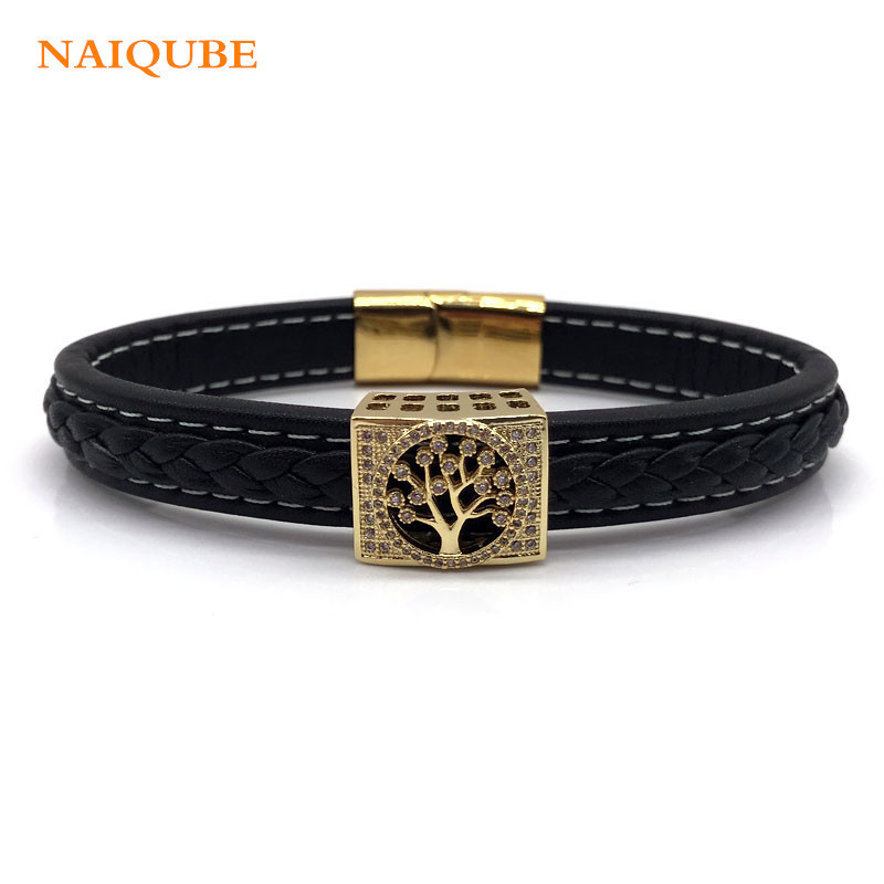 NAIQUBE 2018 Hot Fashion Tree Men Bracelet Stainless CZ Steel Magnetic Clasps Bracelets Leather Vintage Bangles For Men Jewelry