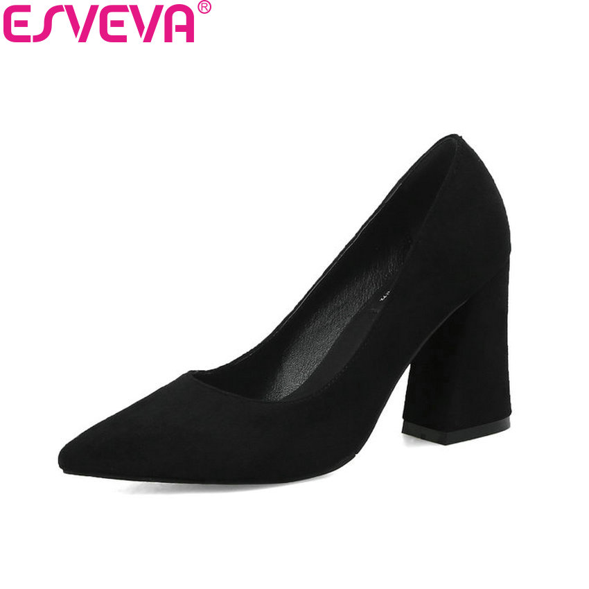 ESVEVA 2018 Women Pumps Wedding Shoes Square High Heels Slip on Pointed Toe Spring and Autumn Out Door Women Shoes Size 34-43 siketu free shipping spring and autumn high heels shoes career sex women shoes wedding shoes g012 nightclub pumps