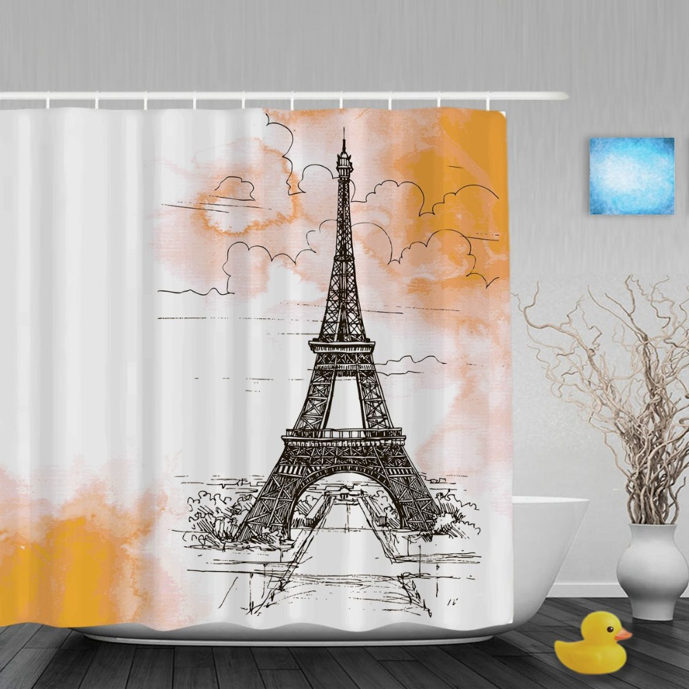 Fabric paris shower curtain - Eiffel Tower On Watercolor Bathroom Shower Curtains Beautiful Paris City Shower Curtain Waterproof Polyester Fabric With
