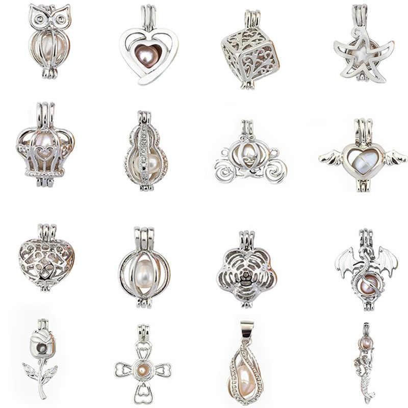 Temuan Perhiasan perak Semanggi Mutiara Kandang Kandang Liontin Liontin Liontin Minyak Esensial Diffuser Untuk Tiram Mutiara Wanita Pria