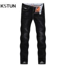 KSTUN Jeans para Homens Famosa Marca de Jeans Preto Stretch Inverno Business Casual Slim Fit Masculino Calças Retas Clássicas de Alta Qualidade