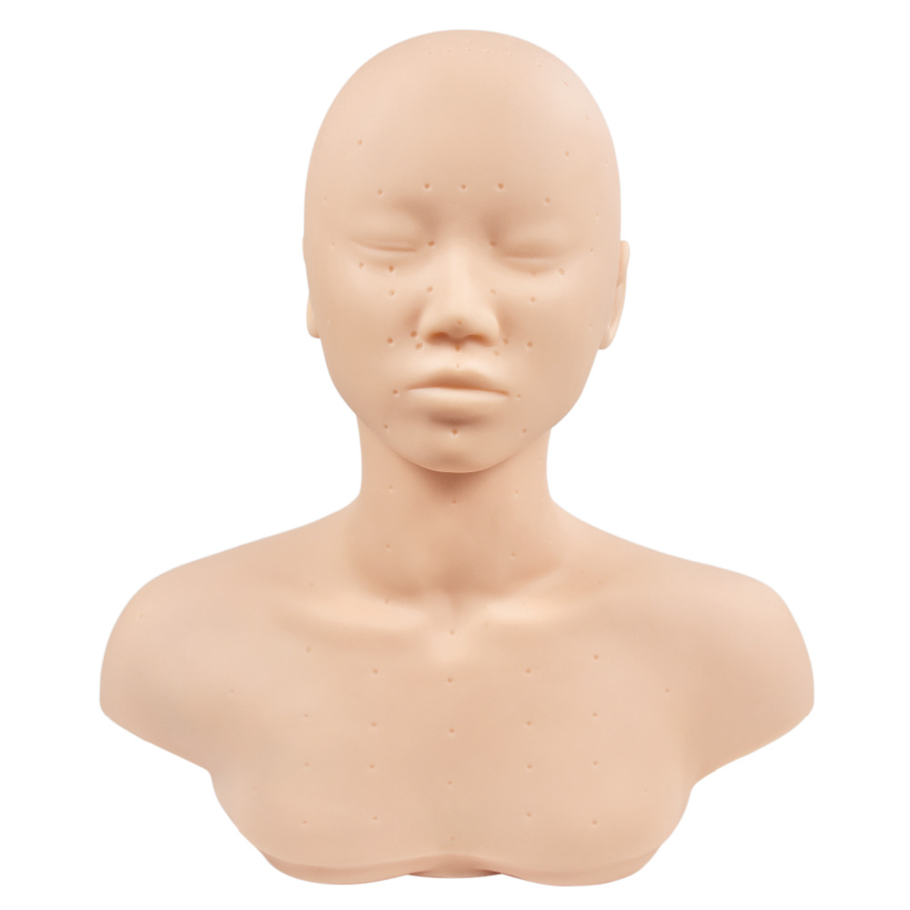 New Closed Eyes Mannequin Head With Shoulder Acupoint Acupuncture Massage Makeup Eyelash Extension Practice Model Head hd soft silicagel acupuncture model 50cm male with base human acupuncture meridians model acupoint model acupuncture massage