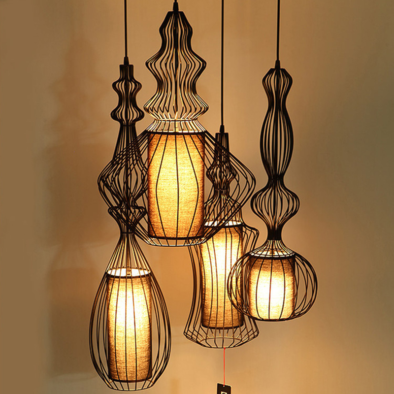American pendant lights for dining room modern bedroom for Suspension luminaire cage