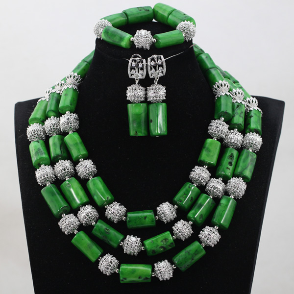 Luxury African Necklace Sets Glamorous Nigerian Beaded Jewelry Unique Style QW1035