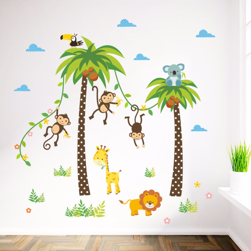 4 Cute Monkeys Wall Decals Sticker Nursery Decor Mural: Monkey Playing On Coconut Palm Wall Sticker Home Decor For