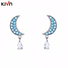 KIVN Fashion Jewelry Dangle Pave Cz Cubic Zirconia Crescent Moon Stud Bridal Wedding Earrings for Women Birthday Christmas Gifts
