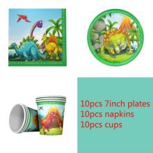 New Dinosaur theme 10pcs Napkins+10pcs Cups+10pcs Plates for Dinosaur Birthday Party decoration supplies 10pcs mn3005