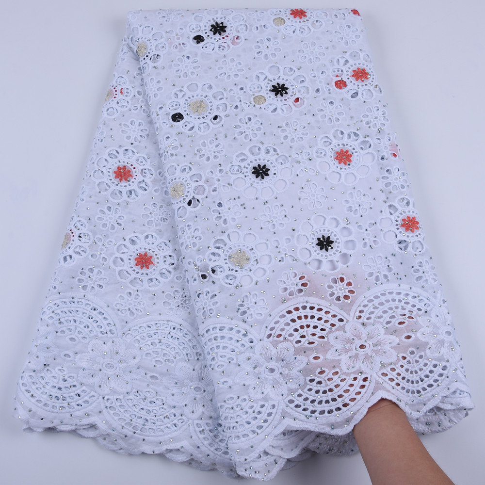 Pure Cotton Design Swiss Voile Lace In Switzerland With Stones African Dry Lace Fabric High Quality Nigerian For Wedding A1679