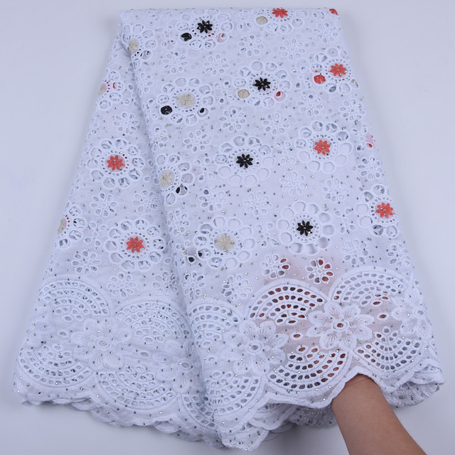 $ US $42.21 Pure Cotton Design Swiss Voile Lace In Switzerland With Stones African Dry Lace Fabric High Quality Nigerian For Wedding A1679