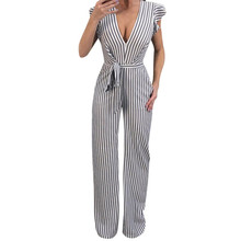 2019 Hot Sale New Fashion Women Summer Sleeveless Striped Halter Ruffle Sexy Jumpsuit Romper Jumpsuit